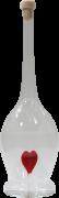 Mundgeblasene Flasche mit rotem Herz